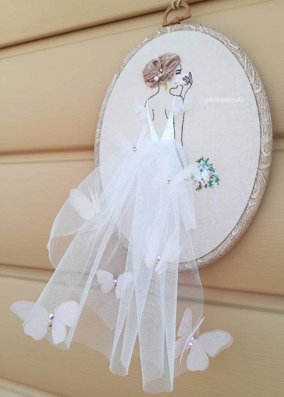 Embroidered Bride portrait Hoop art Custome Wedding gift for girl Hand Embroidery Hair Artwork Wall