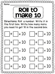 Roll to Make 10 dice math station to practice making 10