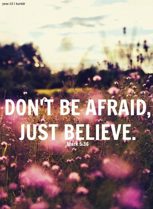 """""""As soon as Jesus heard the word that was spoken, He said to the ruler of the synagogue, """"Do not be afraid; only believe."""" Mark 5:36 (NKJV)"""