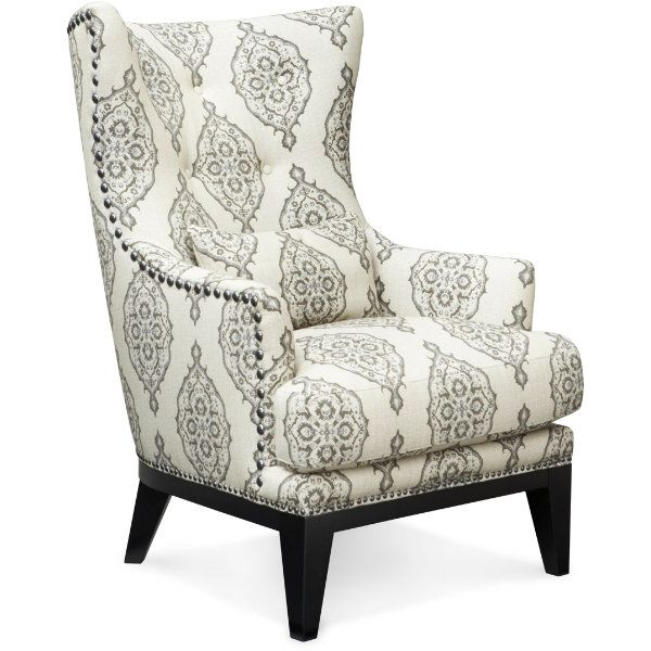 The Bennett chair is a great choice for the eclectic at heart. Nickel nail head trim, an updated wing back and a contemporary base are cool details for this transitional fabric pattern. #Decor #Interior