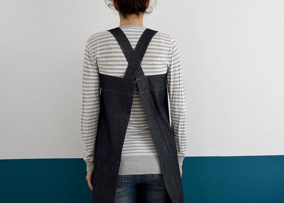 DENIM FULL APRON. Japanese Style, cross back. Denim Apron. Pinafore. Handmade Smock for Florists, Gardeners and Kitchen. Soft and durable.