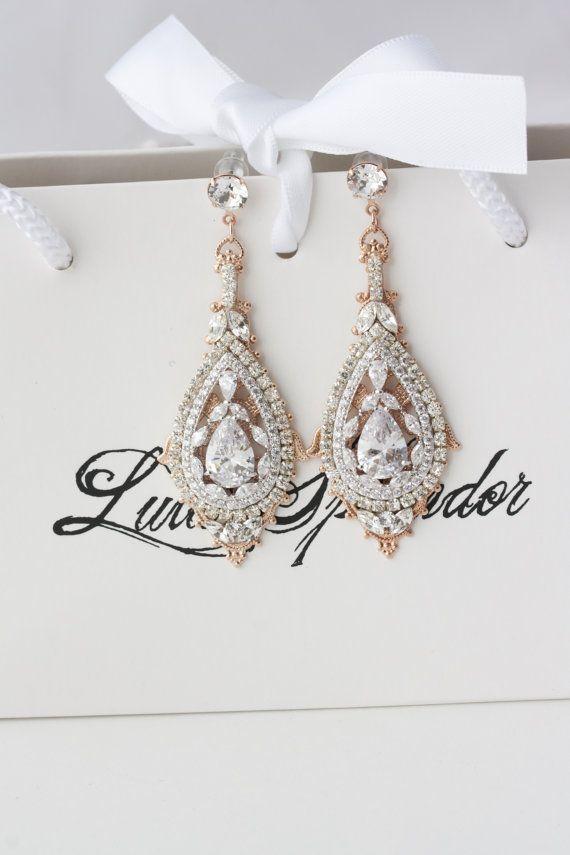 Rose Gold Bridal Earrings Chandelier Wedding by LuluSplendor
