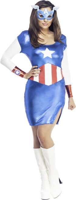American Dream costume dress by Rubies - The Costume Shoppe This American Dream costume is a one piece foil fabric Captain America dress that slips over the head.The mask is a hard glitter foam with a white 'A' and little wings. It has a velcro elastic to keep on the head. Head out with the Dream Team or Captain America and the Avengers in this awesome American Dream costume dress. Perfect for Halloween, group costumes and comic con! Heck, wear it to work!