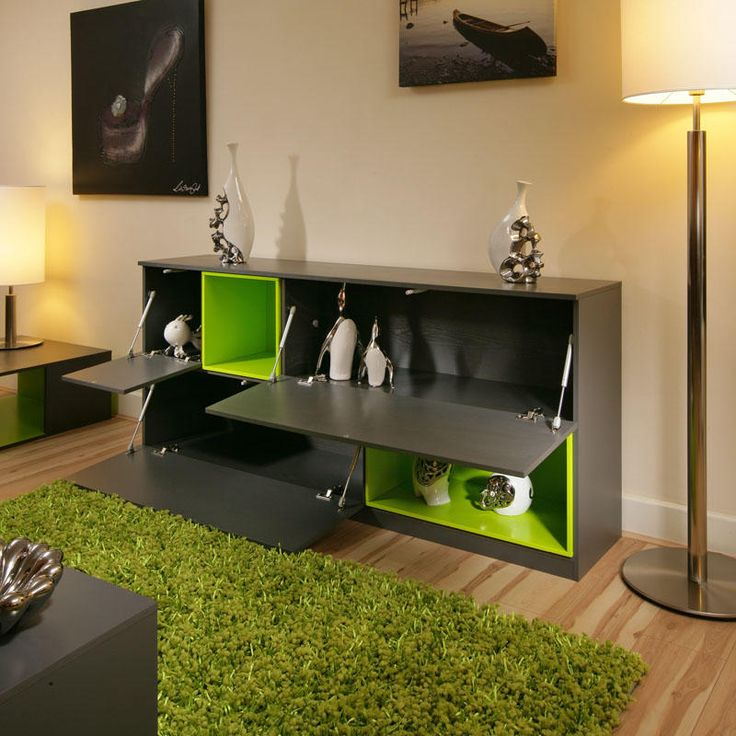 Beautiful dining room sideboard buffet lime green for Lime green dining room ideas