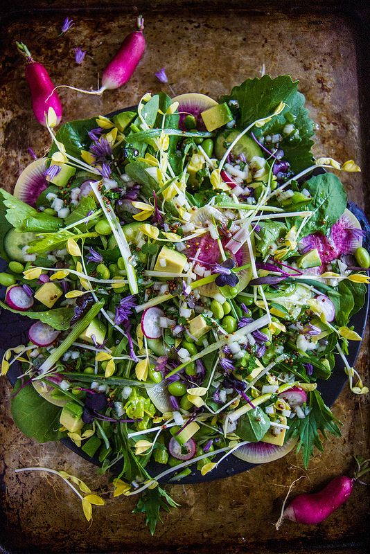 Green Goddess Salad: I don't know where I'd find some of these ingredients without my own garden, but this is one truly beautiful salad.