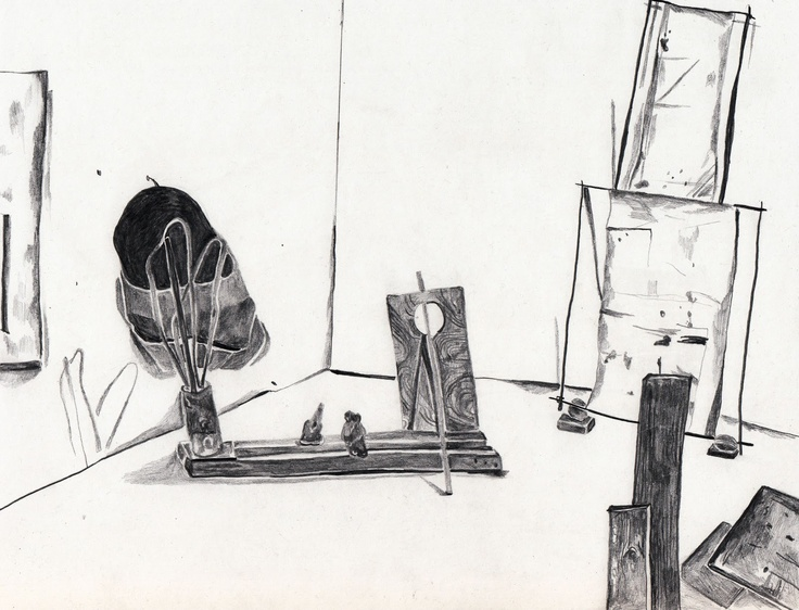 PENCIL IN THE STUDIO by artist Maria Calandra | studio visits with some photos and drawings