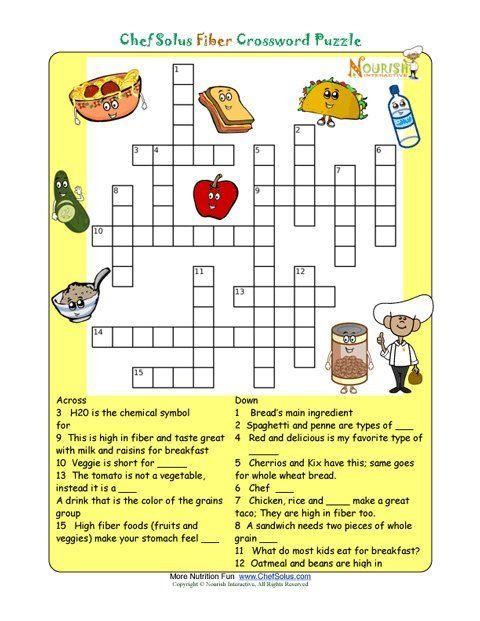 Printable Nutrition Crossword Puzzle - Fiber | School Food ...