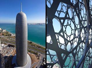 Diseño de Jean Nouvele. El Burj Qatar también conocido como Doha Tower  es un rascacielos situado en Catar. Este edificio de oficinas, diseñado por el arquitecto francés Jean Nouvel, tiene una altura de 232 m y 46 plantas. Es reconocido el mejor edificio alto de Oriente Medio y África del Norte en 2012, destacando la manera en la que usa antiguos patrones islámicos en su fachada, como una referencia a las pantallas de celosías geométricas octogonales.