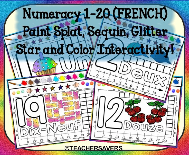 """FRENCH Numbers 1-20 Interactive Smartboard Activity where children can utilize paint splats, glitter stars and sequins to fill the number and number name and show what you know on the number line and number frame. Tip: You can also use the paint/pen/marker tools also for fills and other interactive learning. Upon completion children have an opportunity to check off 7 """"I can"""" statements via the above interactive objects."""