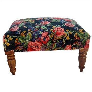 Pilani Floral Cotton Velvet Wood Ottoman
