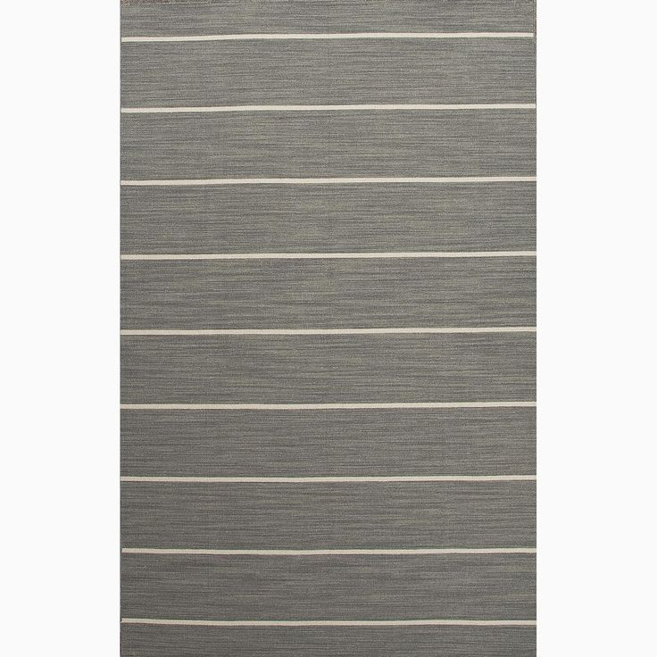 Handmade Striped Pattern Gray Ivory Wool Area Rug 10 X