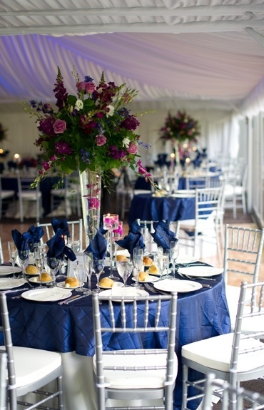 Navy Blue Tablecloth Overlays; Elegant Contrast With The White Dinnerware;  Navy Blue Or Periwinkle