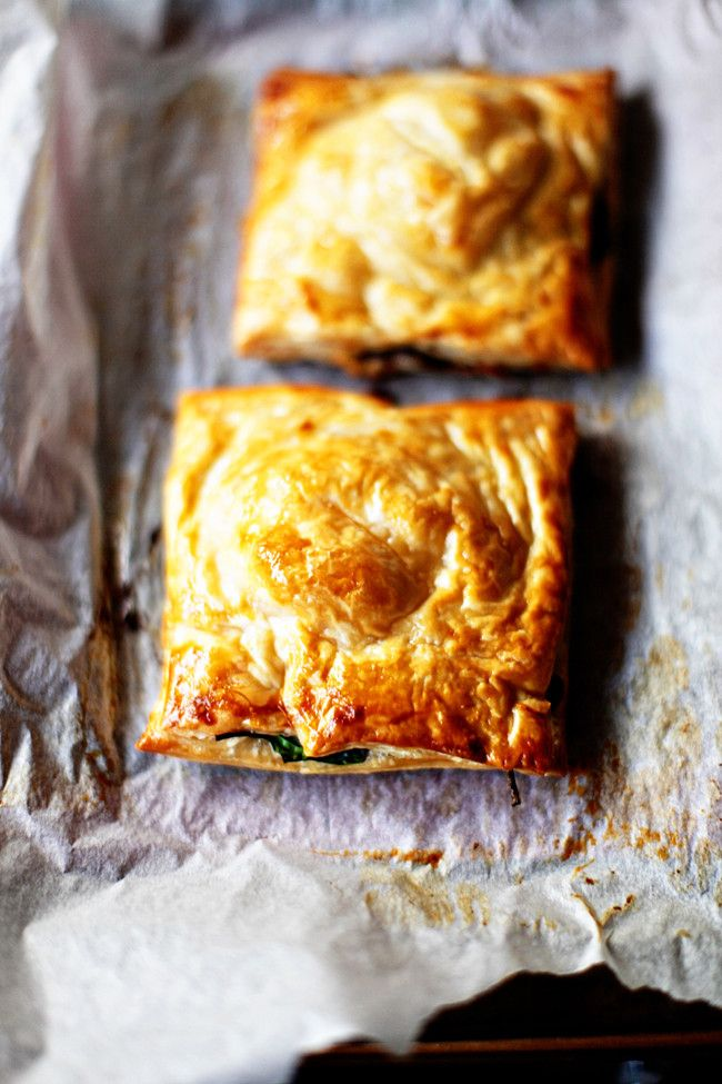Mushroom, spinach  feta pies. ty, greedy gourmand. via delicious everyday