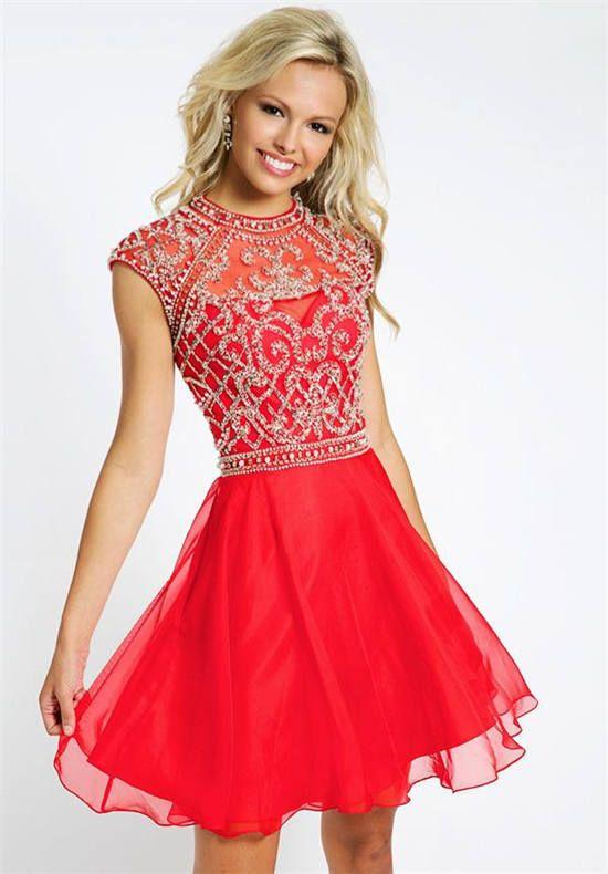 Beaded High Neck Short Red Homecoming Dress Jovani 21475