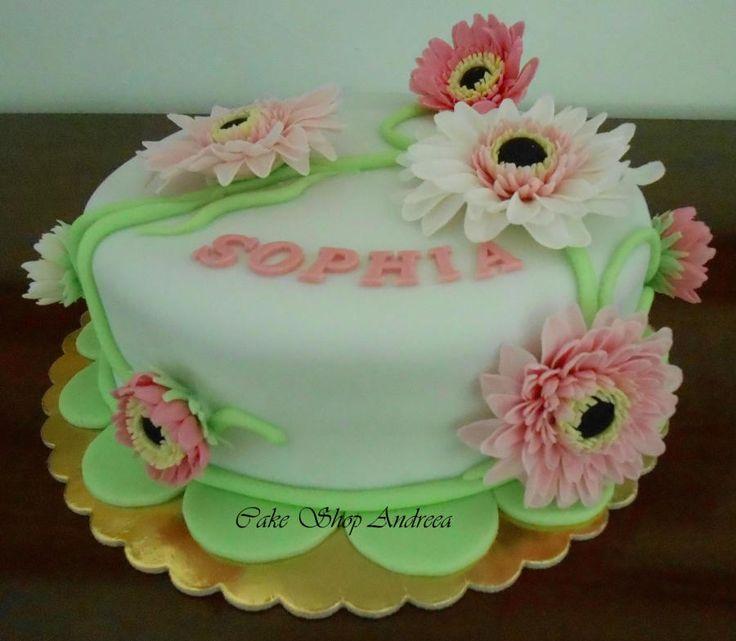 gerber daisy  flowers cake - Cake by lizzy puscasu