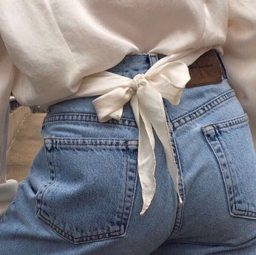 Denim & white with a bow