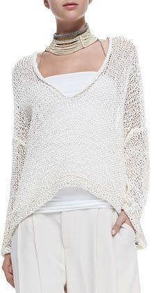 Brunello Cucinelli V-Neck Rubberized Cotton Sweater: