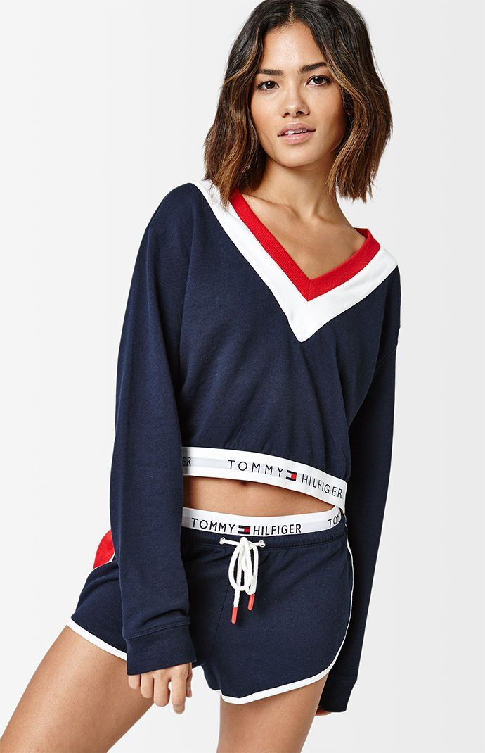 Tommy Hilfiger Womens Crop Sweatshirt Graphic Long Sleeve Pullover Mock Neck New