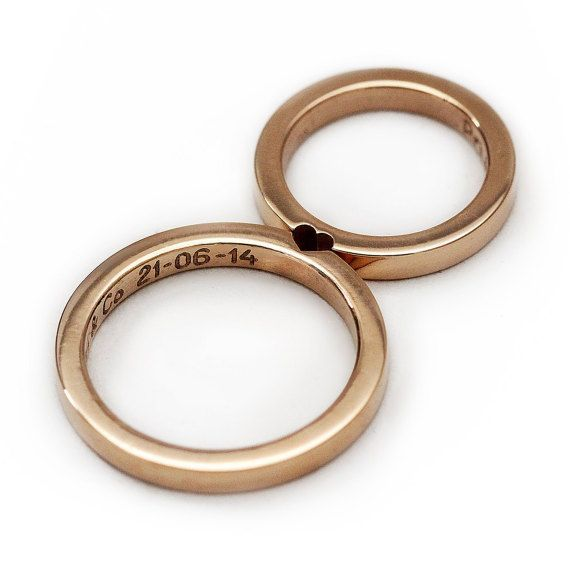 Conjunto de anillo de bodas de oro rosa de 14 k, anillos de compromiso para parejas, anillo de bodas para hombres, alianza de corazón simple a juego   – Ringe Hochzeit