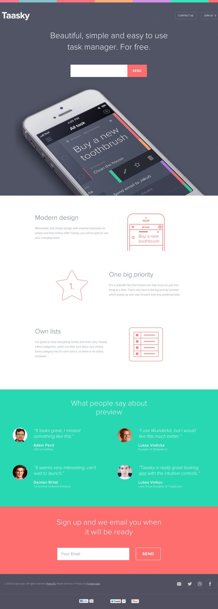 A gorgeously designed launching soon page for an upcoming to-do-list app with a clean minimal responsive layout.