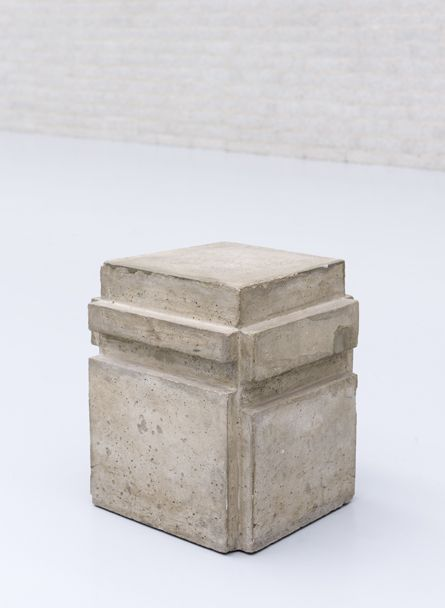// Bruce Nauman. A cast of the space under my steel chair, 1965-1968