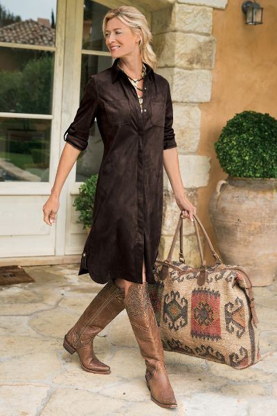 In fabulous faux suede, our So Easy Shirtdress is soft, with an authentic look and feel. Contrasting brass snaps add a pop of antique detail.