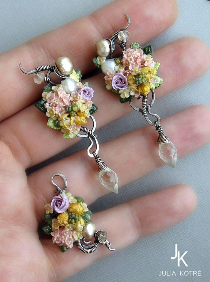 https://www.facebook.com/magicartjewelry/ floral silver studs and ear cuff by Julia Kotre #fimominiature #silverearcuff #silverearrings #wirewrap