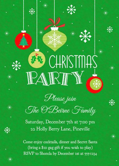 Ornaments+&+Snowflakes+Christmas+Party+Invitation+designed+by+2+june+bugs+on+Pingg.com