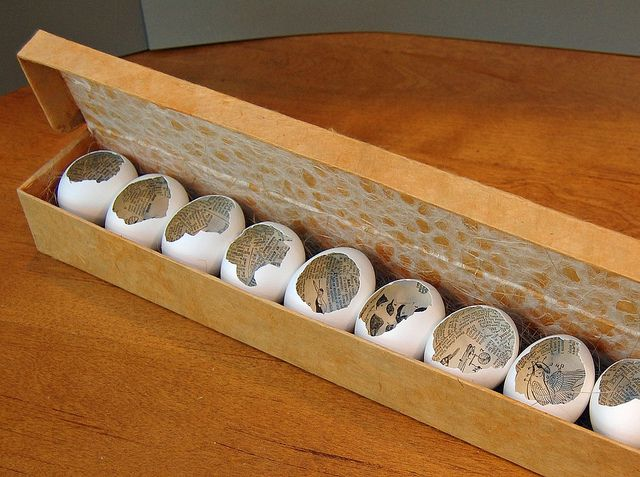 Avian Dictionary by Lynn Skordal is an artists book made from collaged chicken eggs nestled in a handmade box. It was purchased by the University of California San Diego and happily resides in their permanent collection.