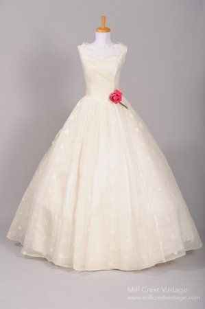 1950s Silk Organza Southern Bell Vintage Wedding Gown -- lovely after one pulls off the flower. Look at the neckline.