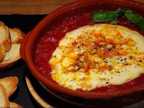 Receta Queso provolone con salsa de tomate al horno - Recetas de cocina, paso a paso, tutorial - YouTube
