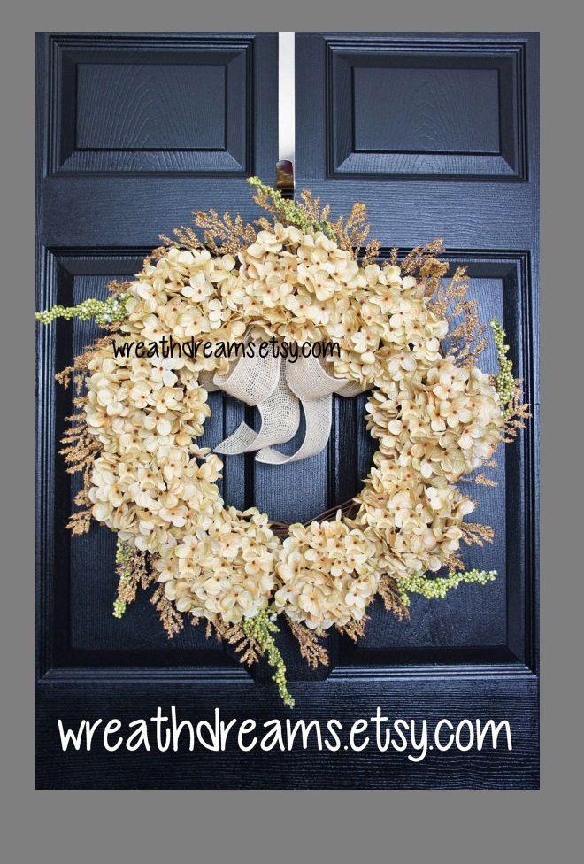 Hortensia blanco antiguo corona de vid con por WreathDreams en Etsy