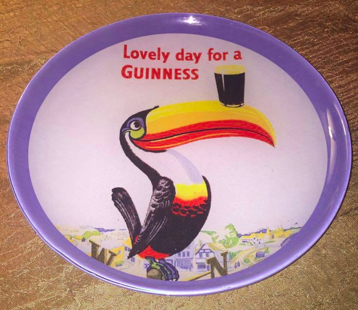 VINTAGE tucan GUINNESS GLASS ADVERTISING PLATE, HARD TO FIND #Guinness