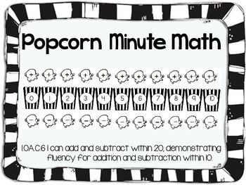 Popcorn Minute Math Fluency Facts Common Core Fluency to