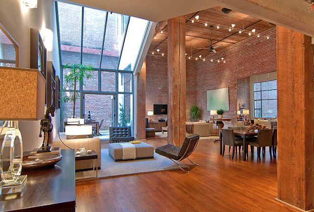 Stunning loft in San Francisco, with gorgeous woodworkExposed Bricks, Open Spaces, Bricks Wall, Interiors, Open Floors Plans, High Ceilings, Loft Spaces, Expo Bricks, San Francisco