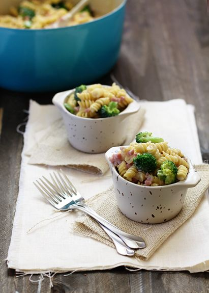... Mac n Cheese with Broccoli and Ham (I would sub pancetta for the ham
