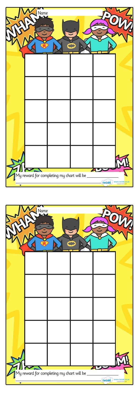 Twinkl Resources >> Superhero Sticker/Stamp Reward Chart >> Classroom printables for Pre-School, Kindergarten, Elementary School and beyond! Rewards, Sticker Charts, Class Management, Behavior: