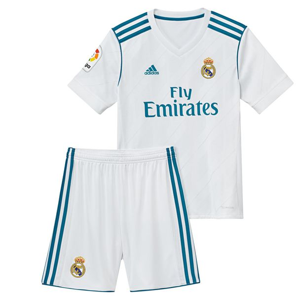 Real Madrid Home Kids Football Kit 2017 2018 This is the Real Madrid Home Kids Football Kit for the 17/18 season. Cheer the 2016-17 La Liga and Champions League Winners. The traditional white home jersey is accented with the season's new color turquoise. Thin silver lines run diagonally across the front panel and sleeves. Three stripes […]