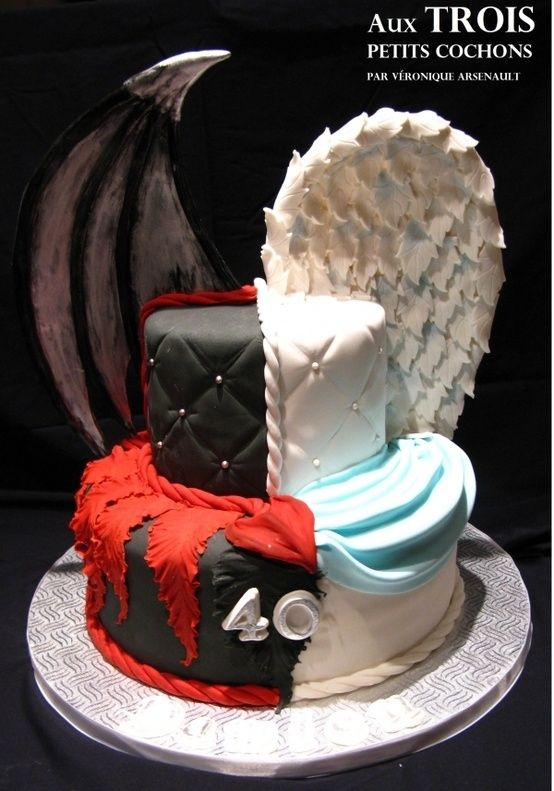 Angel & Demon cake by angie rule