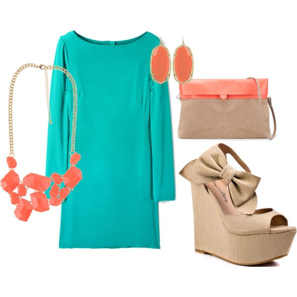 teal and coral: Shoes, Color Combos, Style, Teal Dresses, Summer Color, Outfit, Wedges, The Dresses, Summer Clothing