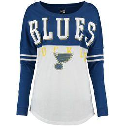 St. Louis Blues 5th & Ocean by New Era Women's Long Sleeve Varsity T-Shirt - White/Royal
