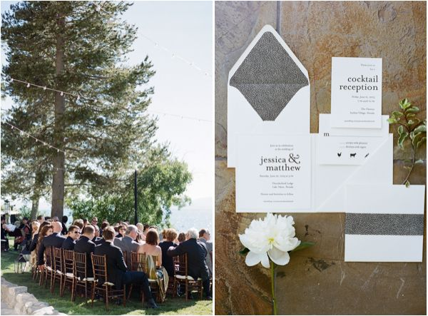Lakefront wedding invitation idea from this real Lake Tahoe wedding at Thunderbird Lodge from Josh Gruetzmacher