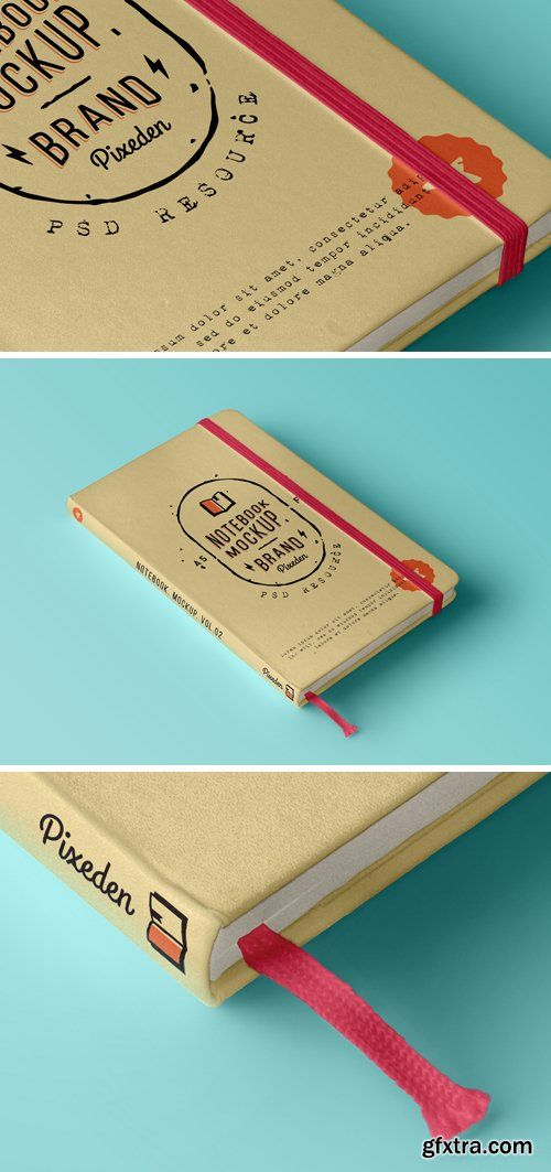 Classic Notebook Mockup, Isometric View