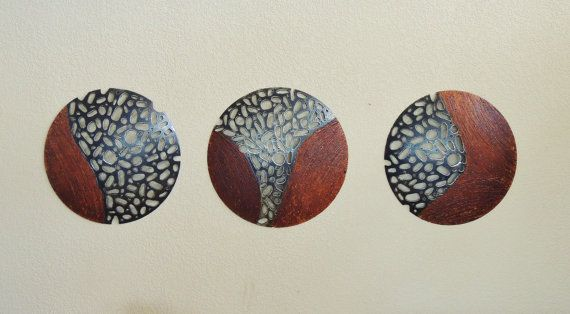 Round Metal Sculpture Set of 3 MADE TO ORDER Industrial