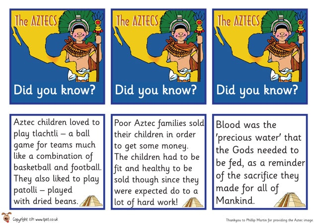 Aztec cards from Teachers Pet - Free!