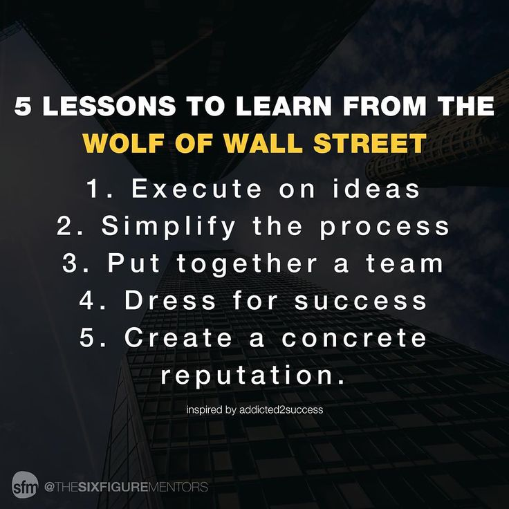 The Wolf of Wall Street is an incredible movie complete with a few lessons to be learned. Here are our top 5: - 1. Execute on ideas - Don't wait on an idea. Scope it out see if it's worth pursuing and take action on it. - 2. Simplify - Simplify all aspects of your business. Keep away from over complicating. - 3. Put together a team - You need a team around you who will support and respect you. - 4. Dress for success - Dress like you have already arrived which will help your self-esteem and…