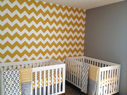 The Large Chevron Stencil is used by Taryn Palesano in the nursery for the twins she's expecting! Adorable! | Royal Design Studio