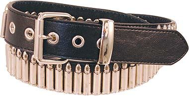 Black leather bullet belt with removable buckle and chrome hardware. #BT5080BUL