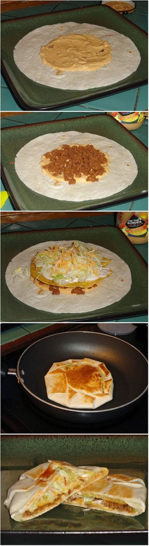 Ingredients: Large (burrito size) tortilla shells Small tostada shells (or as FB,HK used, tortilla chips) Queso sauce Pre-cooked taco meat (I obviously used beef)