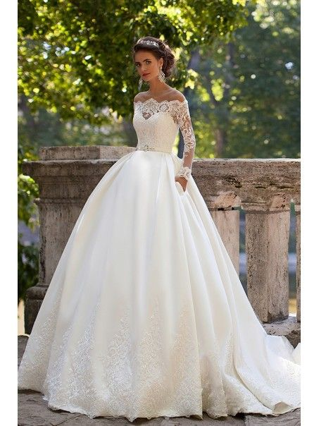 394b90504a78 Ball Gown Long Sleeves Off-the-Shoulder Lace Wedding Dresses Bridal Gowns  4301006